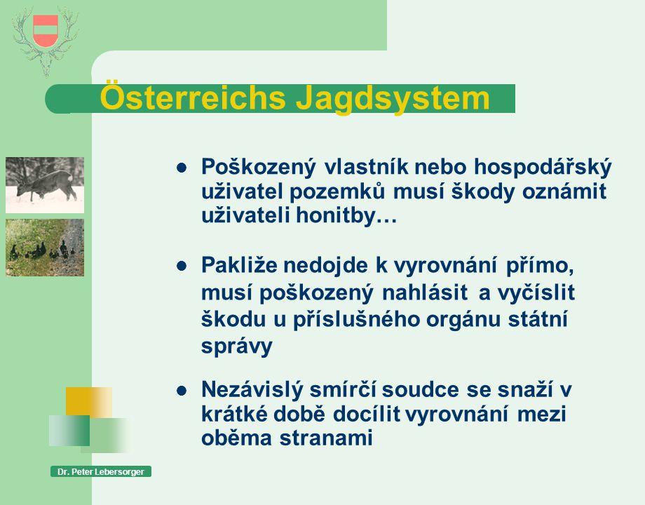 Österreichs Jagdsystem Dr. Peter Lebersorger  Poškozený vlastník nebo hospodářský uživatel pozemků musí škody oznámit uživateli honitby…  Pakliže ne