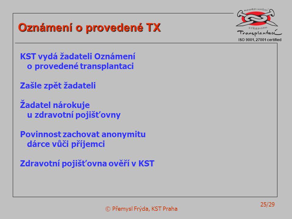 © Přemysl Frýda, KST Praha 25/29 ISO 9001, 27001 certified Oznámení o provedené TX KST vydá žadateli Oznámení o provedené transplantaci Zašle zpět žad
