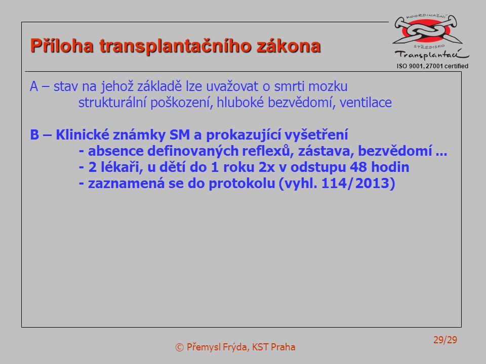 © Přemysl Frýda, KST Praha 29/29 ISO 9001, 27001 certified Příloha transplantačního zákona A – stav na jehož základě lze uvažovat o smrti mozku strukturální poškození, hluboké bezvědomí, ventilace B – Klinické známky SM a prokazující vyšetření - absence definovaných reflexů, zástava, bezvědomí...