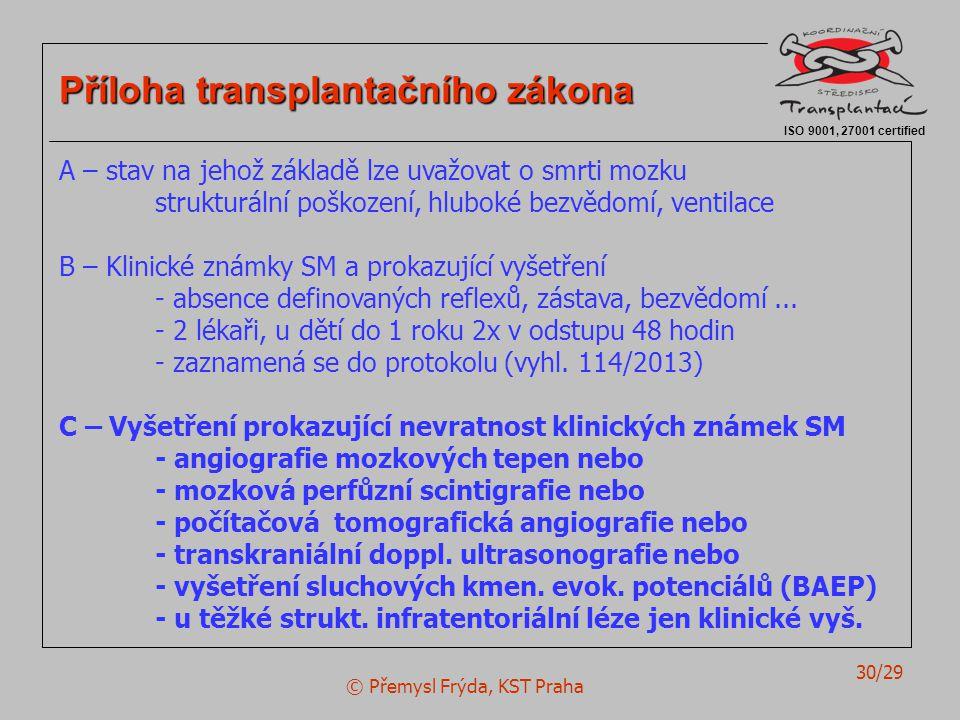 © Přemysl Frýda, KST Praha 30/29 ISO 9001, 27001 certified Příloha transplantačního zákona A – stav na jehož základě lze uvažovat o smrti mozku strukturální poškození, hluboké bezvědomí, ventilace B – Klinické známky SM a prokazující vyšetření - absence definovaných reflexů, zástava, bezvědomí...