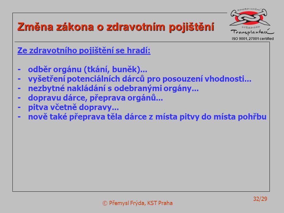 © Přemysl Frýda, KST Praha 32/29 ISO 9001, 27001 certified Změna zákona o zdravotním pojištění Ze zdravotního pojištění se hradí: -odběr orgánu (tkání