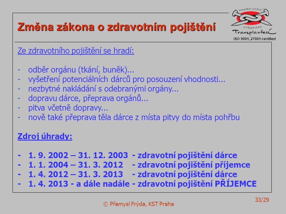 © Přemysl Frýda, KST Praha 33/29 ISO 9001, 27001 certified Změna zákona o zdravotním pojištění Ze zdravotního pojištění se hradí: -odběr orgánu (tkání, buněk)...