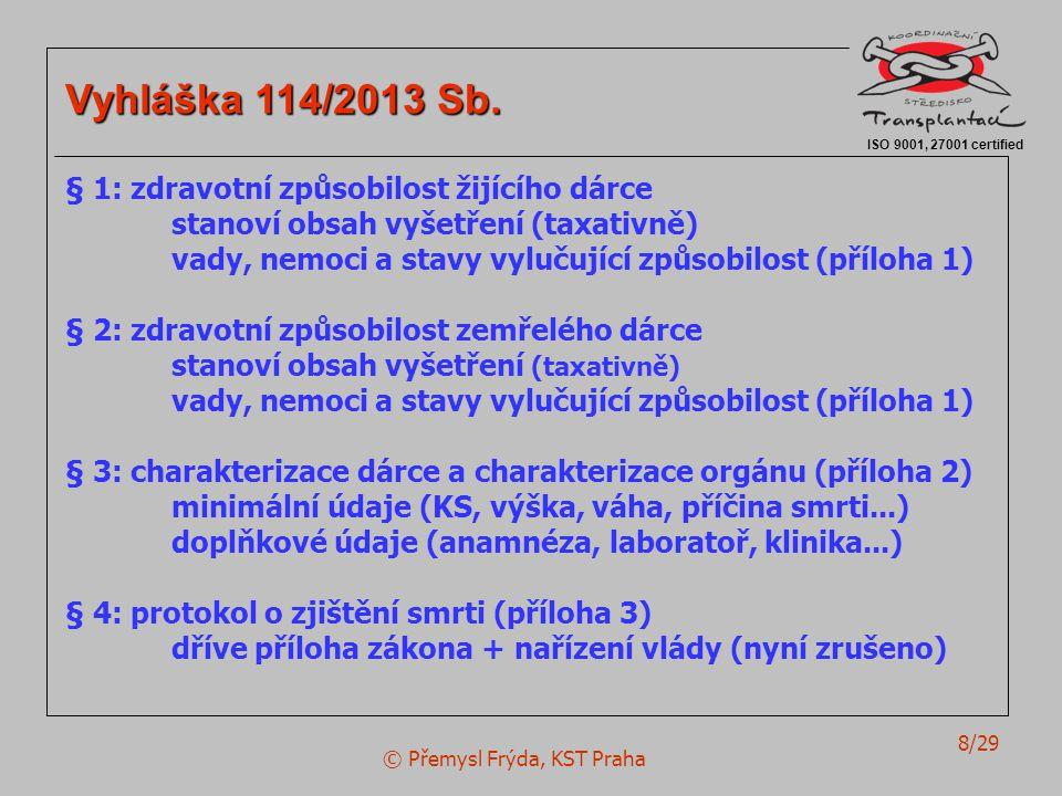 © Přemysl Frýda, KST Praha 8/29 ISO 9001, 27001 certified Vyhláška 114/2013 Sb. § 1: zdravotní způsobilost žijícího dárce stanoví obsah vyšetření (tax