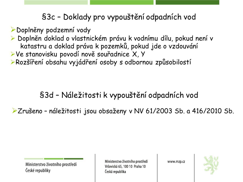 §3c – Doklady pro vypouštění odpadních vod  Doplněny podzemní vody  Doplněn doklad o vlastnickém právu k vodnímu dílu, pokud není v katastru a doklad práva k pozemků, pokud jde o vzdouvání  Ve stanovisku povodí nově souřadnice X, Y  Rozšíření obsahu vyjádření osoby s odbornou způsobilostí §3d – Náležitosti k vypouštění odpadních vod  Zrušeno – náležitosti jsou obsaženy v NV 61/2003 Sb.