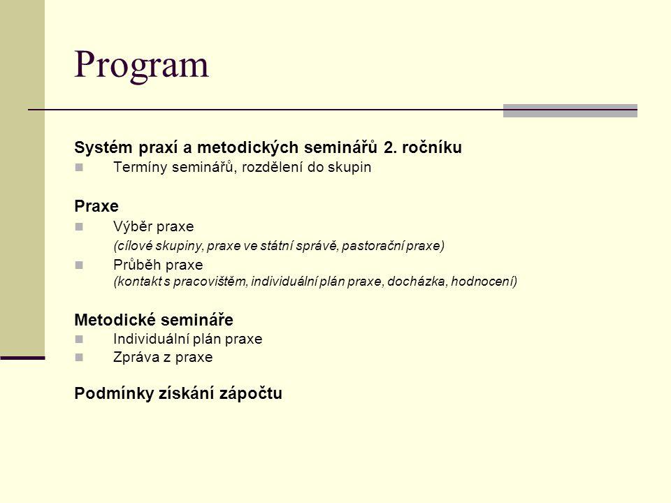 Program Systém praxí a metodických seminářů 2.