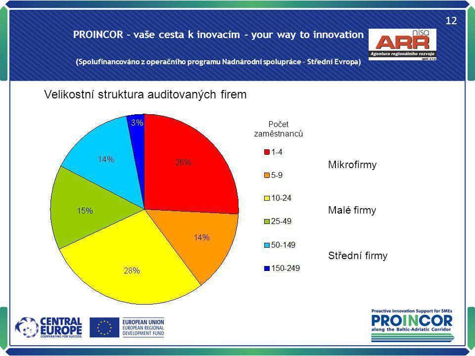 PROINCOR - vaše cesta k inovacím - your way to innovation (Spolufinancováno z operačního programu Nadnárodní spolupráce – Střední Evropa) 12 Velikostn