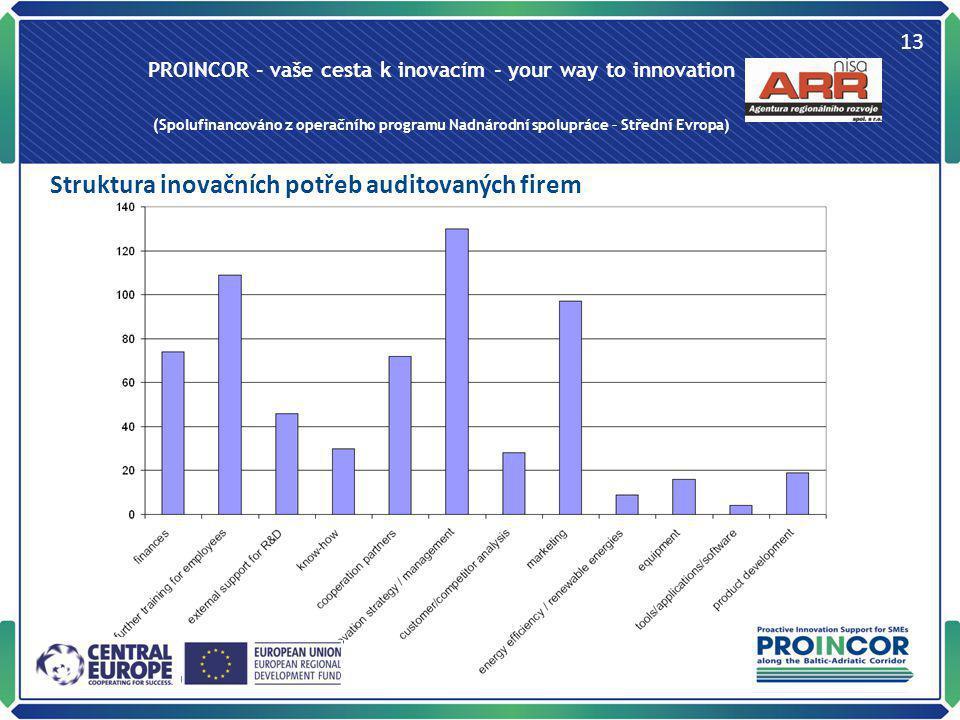 PROINCOR - vaše cesta k inovacím - your way to innovation (Spolufinancováno z operačního programu Nadnárodní spolupráce – Střední Evropa) 13 Struktura