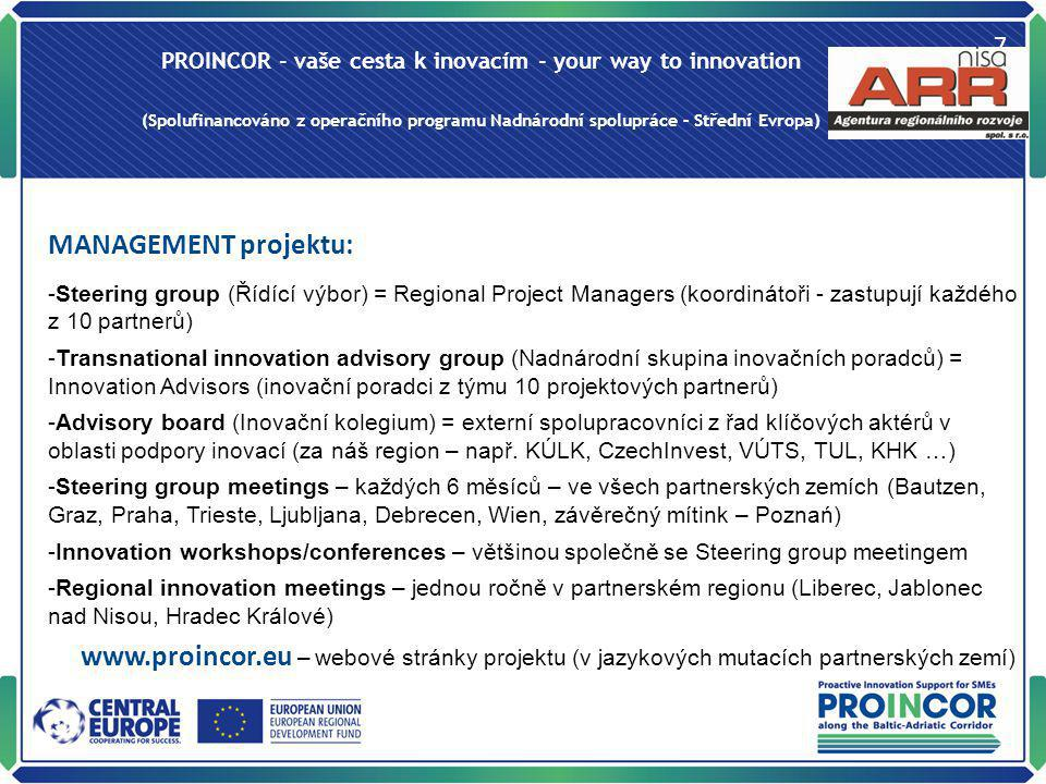 PROINCOR - vaše cesta k inovacím - your way to innovation (Spolufinancováno z operačního programu Nadnárodní spolupráce – Střední Evropa) 7 MANAGEMENT