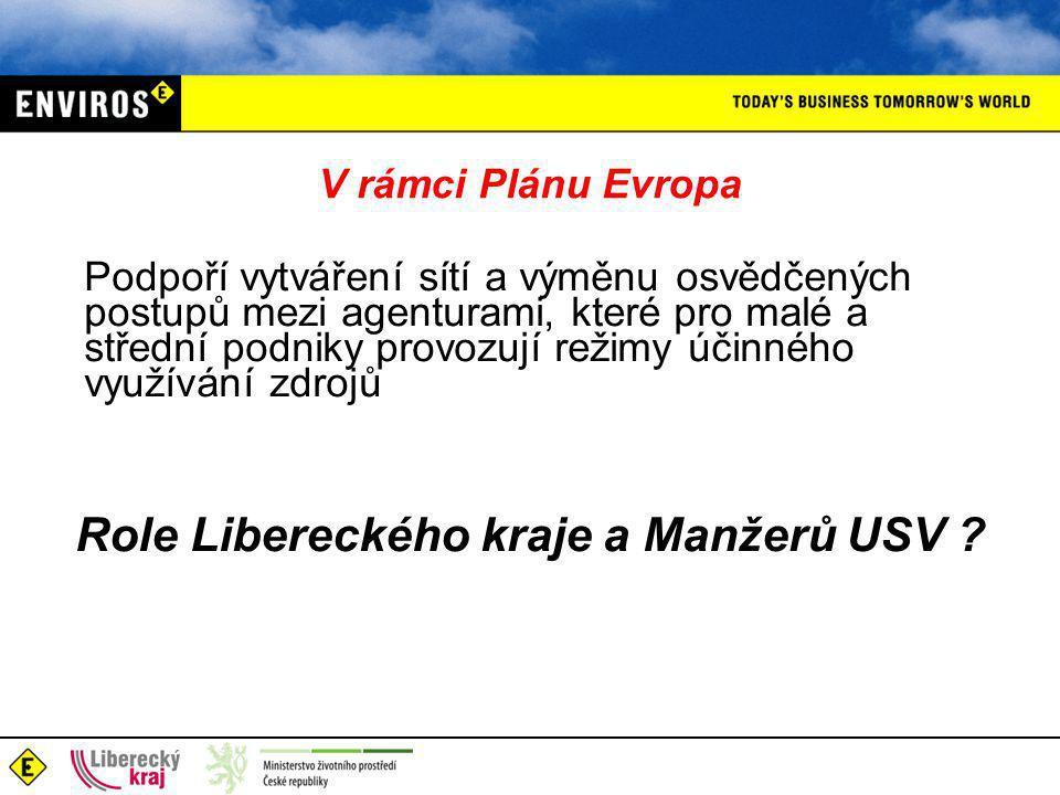 V rámci Plánu Evropa Podpoří vytváření sítí a výměnu osvědčených postupů mezi agenturami, které pro malé a střední podniky provozují režimy účinného využívání zdrojů Role Libereckého kraje a Manžerů USV