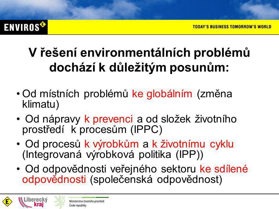 V řešení environmentálních problémů dochází k důležitým posunům: •Od místních problémů ke globálním (změna klimatu) • Od nápravy k prevenci a od složek životního prostředí k procesům (IPPC) • Od procesů k výrobkům a k životnímu cyklu (Integrovaná výrobková politika (IPP)) • Od odpovědnosti veřejného sektoru ke sdílené odpovědnosti (společenská odpovědnost)