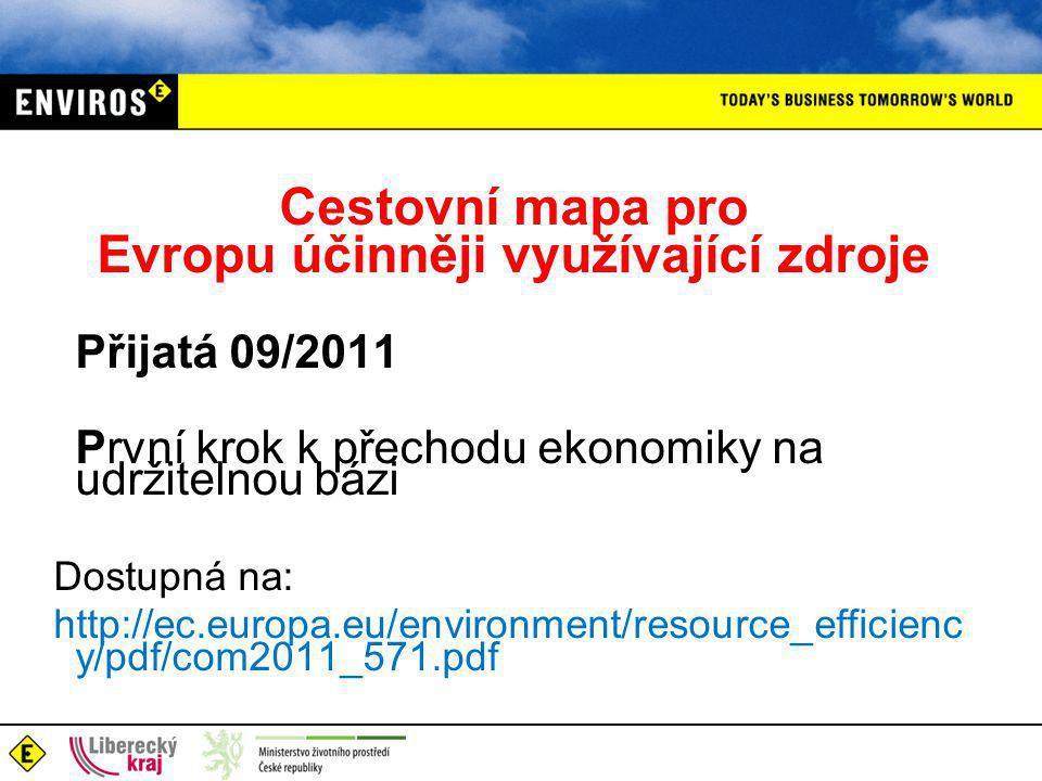 Cestovní mapa pro Evropu účinněji využívající zdroje Přijatá 09/2011 První krok k přechodu ekonomiky na udržitelnou bázi Dostupná na: http://ec.europa.eu/environment/resource_efficienc y/pdf/com2011_571.pdf