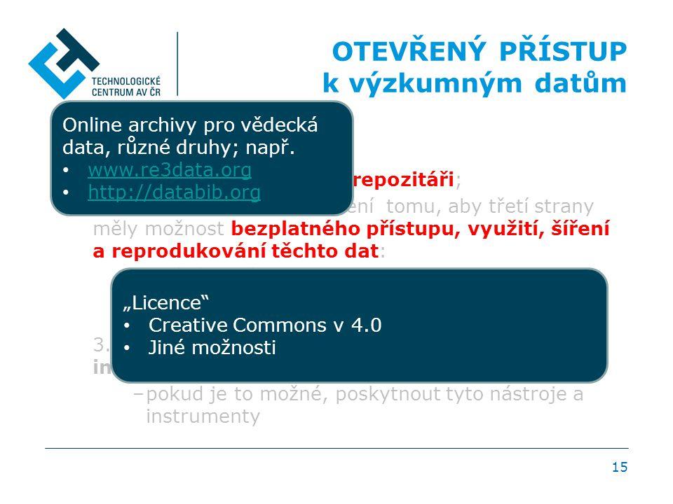 POSTUP 1. Povinnost uložit data v repozitáři; 2.Povinnost přijmout opatření tomu, aby třetí strany měly možnost bezplatného přístupu, využití, šíření