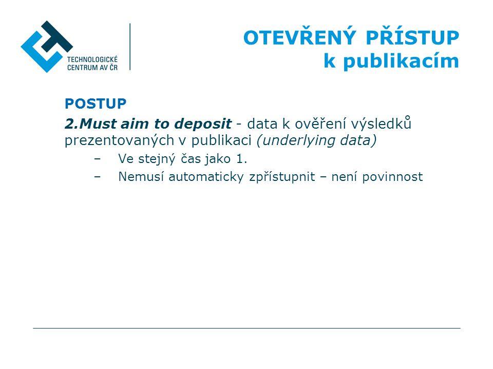 POSTUP 2.Must aim to deposit - data k ověření výsledků prezentovaných v publikaci (underlying data) –Ve stejný čas jako 1. –Nemusí automaticky zpřístu