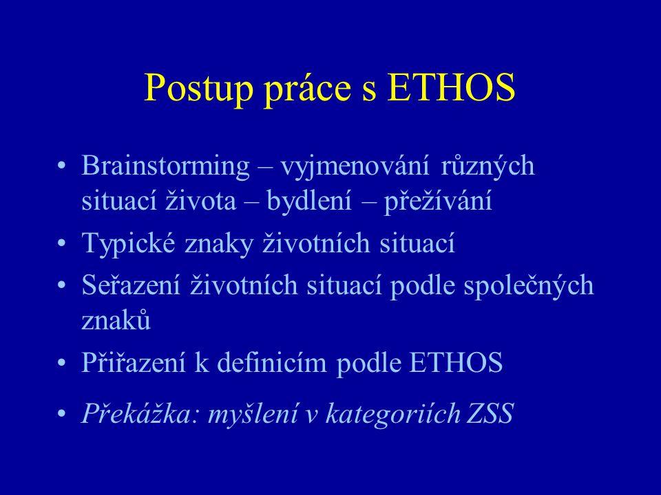 Postup práce s ETHOS •Brainstorming – vyjmenování různých situací života – bydlení – přežívání •Typické znaky životních situací •Seřazení životních si