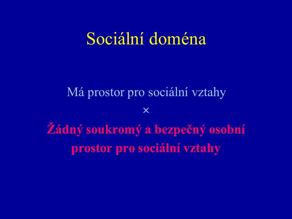 Sociální doména Má prostor pro sociální vztahy × Žádný soukromý a bezpečný osobní prostor pro sociální vztahy