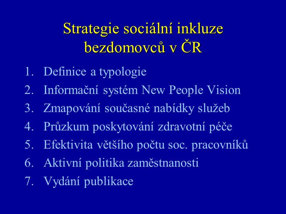 Strategie sociální inkluze bezdomovců v ČR 1.Definice a typologie 2.Informační systém New People Vision 3.Zmapování současné nabídky služeb 4.Průzkum poskytování zdravotní péče 5.Efektivita většího počtu soc.