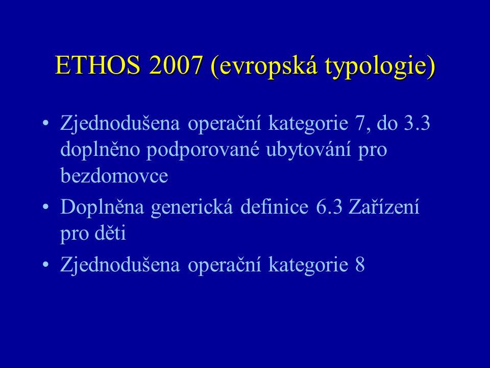 ETHOS 2007 (evropská typologie) •Zjednodušena operační kategorie 7, do 3.3 doplněno podporované ubytování pro bezdomovce •Doplněna generická definice