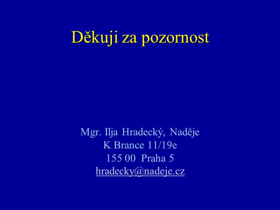 Děkuji za pozornost Mgr. Ilja Hradecký, Naděje K Brance 11/19e 155 00 Praha 5 hradecky@nadeje.cz