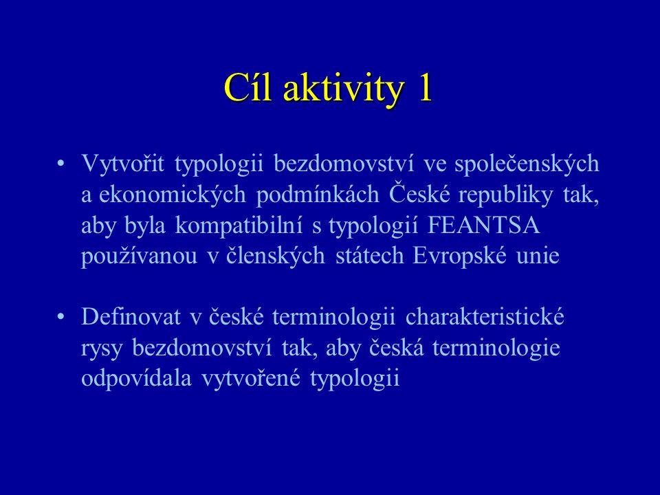 Cíl aktivity 1 •Vytvořit typologii bezdomovství ve společenských a ekonomických podmínkách České republiky tak, aby byla kompatibilní s typologií FEAN