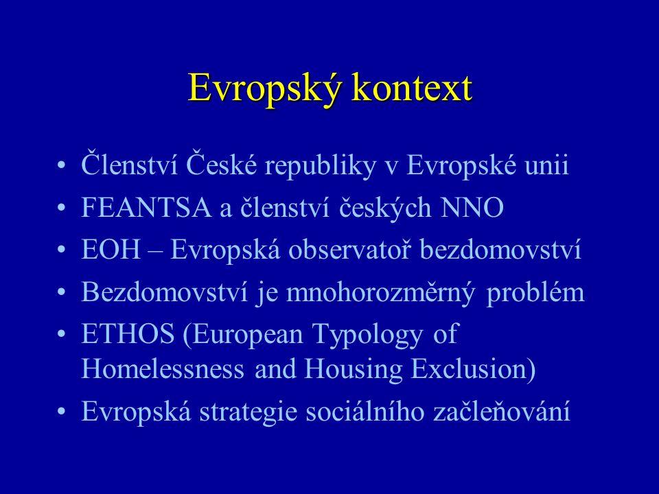 Co je ETHOS Evropská typologie bezdomovství a vyloučení z bydlení •Koncepční kategorie (4) –Operační (pracovní) kategorie (13) •Generická definice a popis životní situace –Národní subkategorie