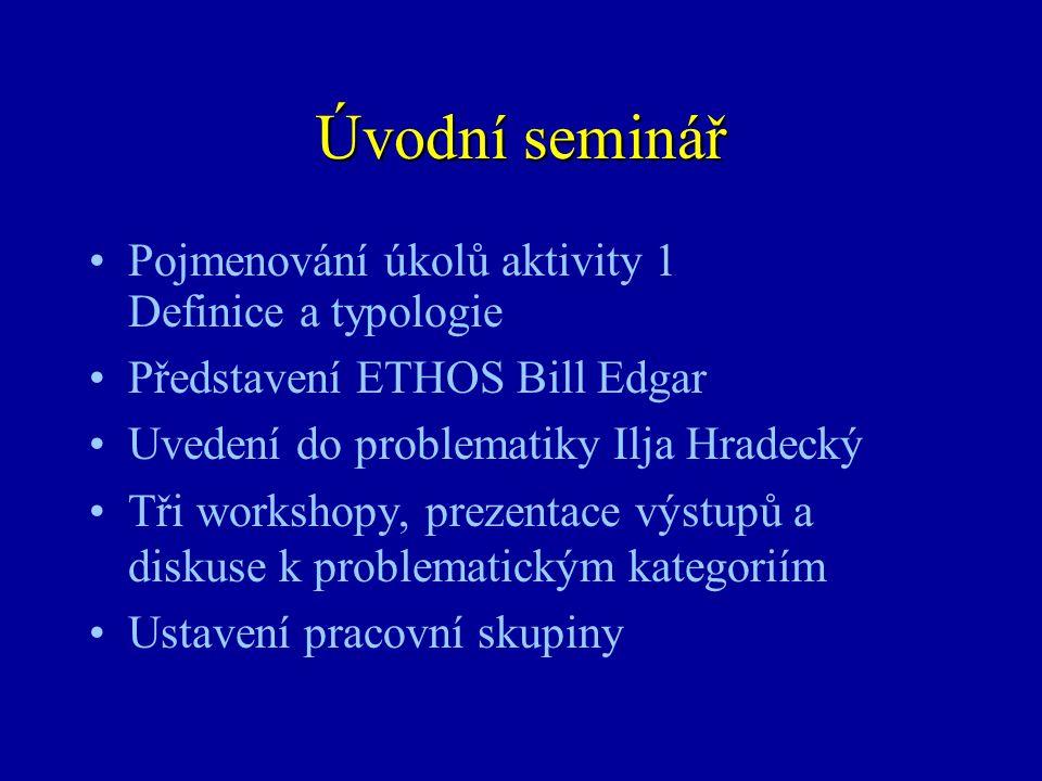 Úvodní seminář •Pojmenování úkolů aktivity 1 Definice a typologie •Představení ETHOS Bill Edgar •Uvedení do problematiky Ilja Hradecký •Tři workshopy,