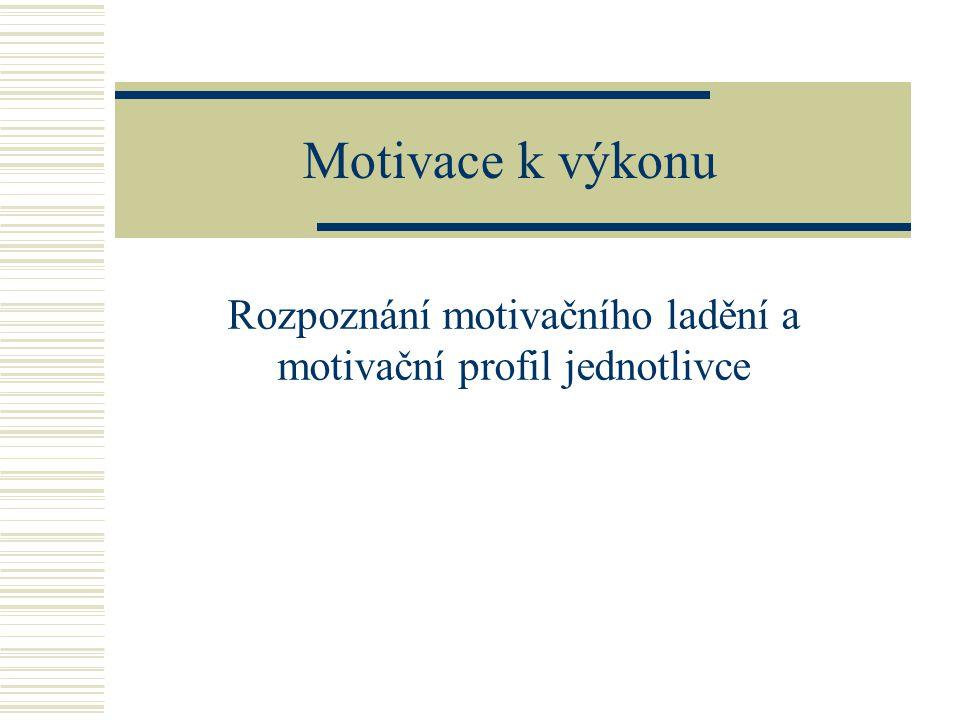 Motivace k výkonu Rozpoznání motivačního ladění a motivační profil jednotlivce