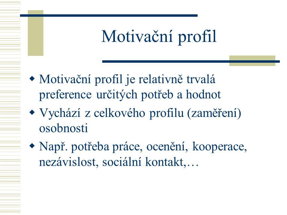 Motivační profil  Motivační profil je relativně trvalá preference určitých potřeb a hodnot  Vychází z celkového profilu (zaměření) osobnosti  Např.