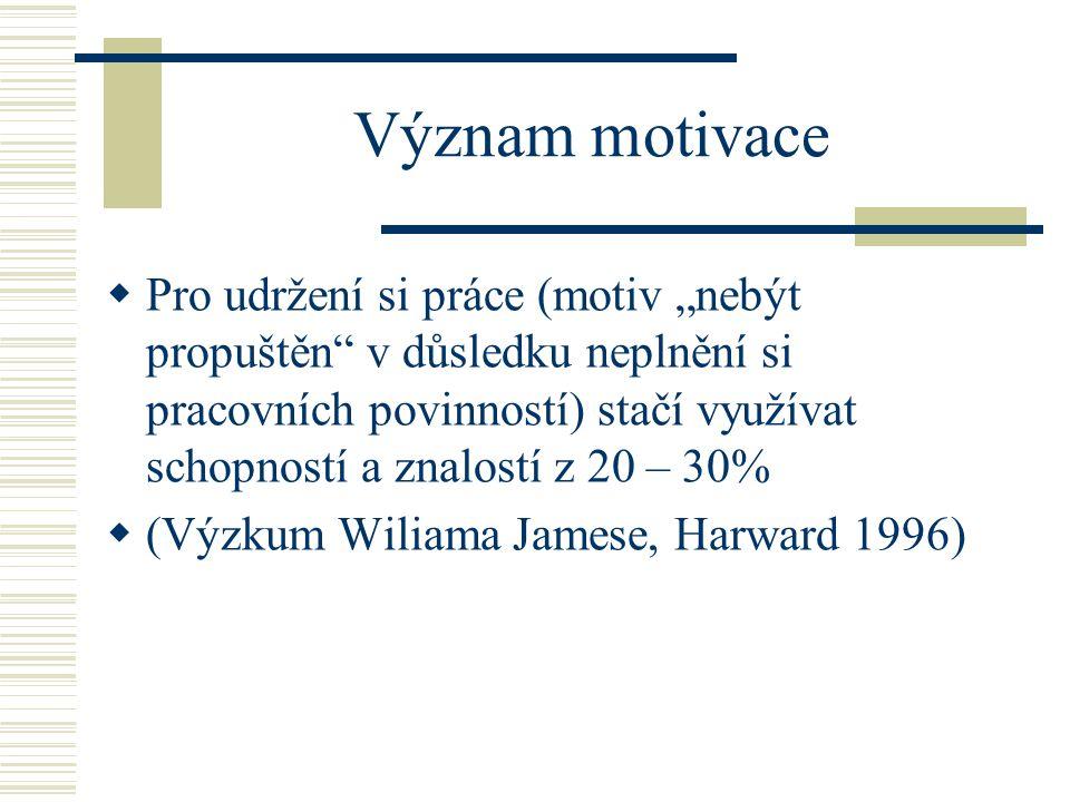 Význam motivace  Vysoce motivovaní jedinci využívají své schopnosti z 80 – 90%  (Výzkum Wiliama Jamese, Harward 1996)  Vliv pozitivní motivace je velmi výrazný.
