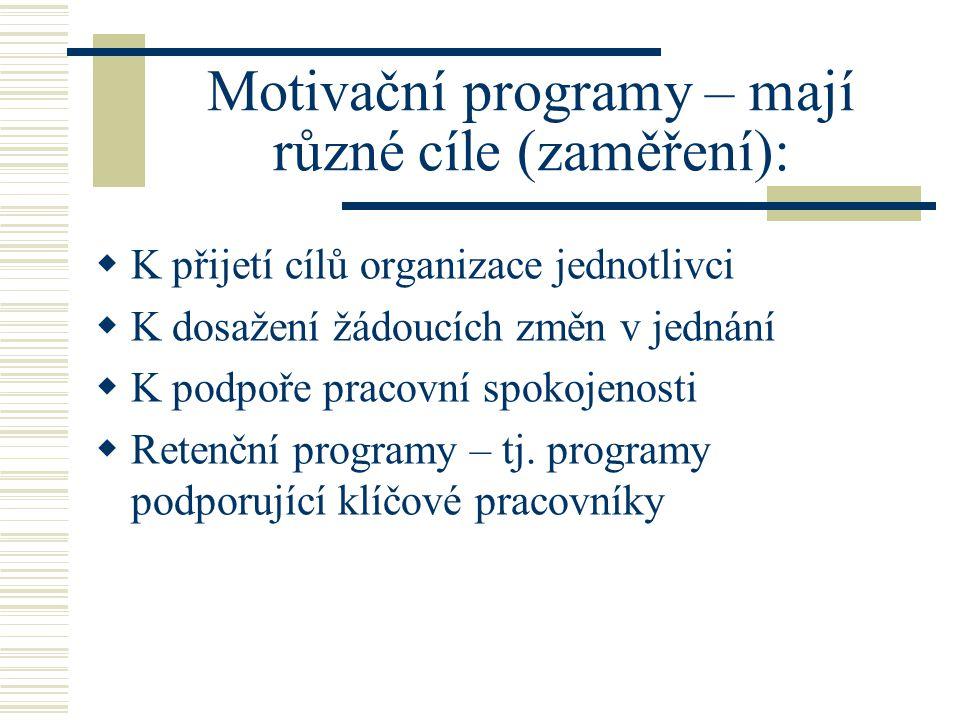 Faktory ovlivňující pracovní motivaci  Náplň práce a stanovení výkonových cílů  Možnost participace na stanovení cílů  Efektivní komunikace  Informovanost o dění  Silná firemní kultura (zejména v obl.