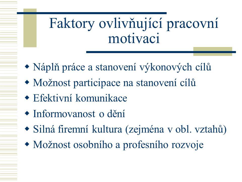 Faktory ovlivňující pracovní motivaci  Náplň práce a stanovení výkonových cílů  Možnost participace na stanovení cílů  Efektivní komunikace  Infor