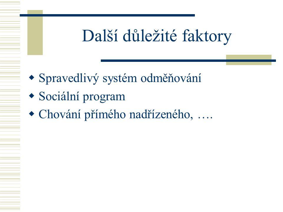Další důležité faktory  Spravedlivý systém odměňování  Sociální program  Chování přímého nadřízeného, ….
