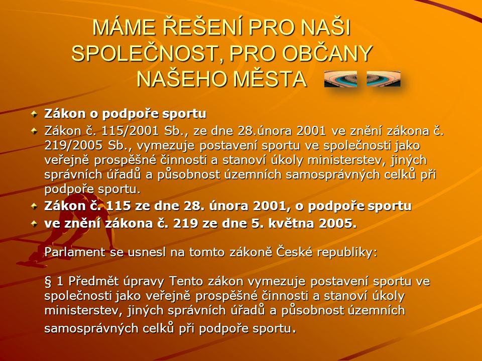 MÁME ŘEŠENÍ PRO NAŠI SPOLEČNOST, PRO OBČANY NAŠEHO MĚSTA Zákon o podpoře sportu Zákon č.