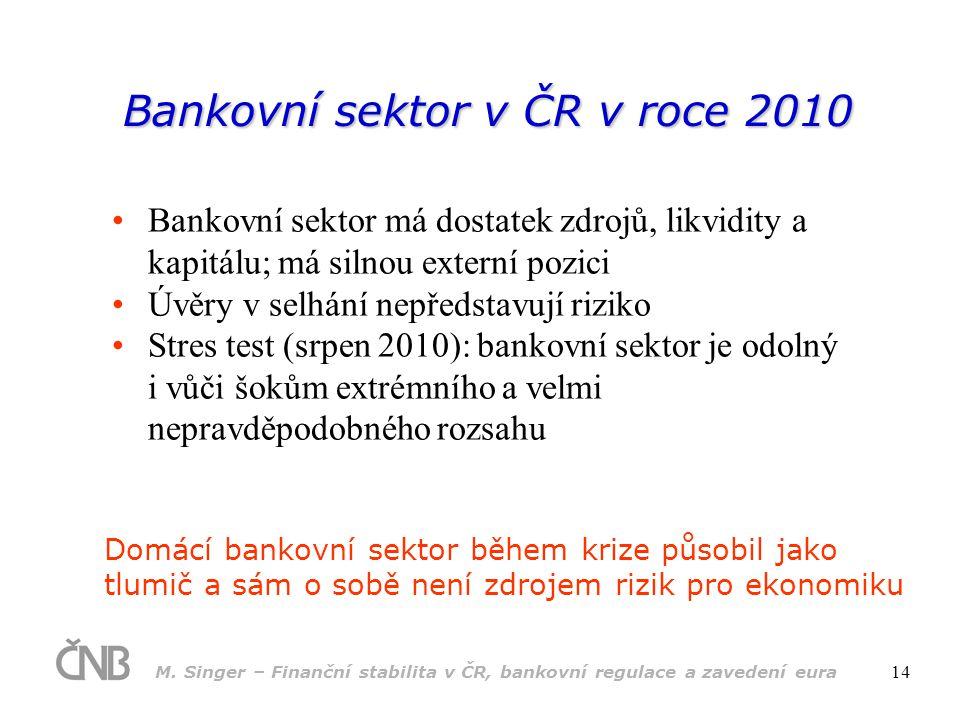 M. Singer – Finanční stabilita v ČR, bankovní regulace a zavedení eura 14 Bankovní sektor v ČR v roce 2010 •Bankovní sektor má dostatek zdrojů, likvid