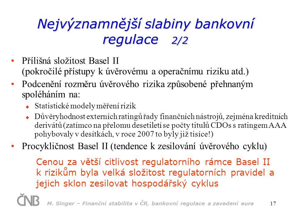 M. Singer – Finanční stabilita v ČR, bankovní regulace a zavedení eura 17 •Přílišná složitost Basel II (pokročilé přístupy k úvěrovému a operačnímu ri