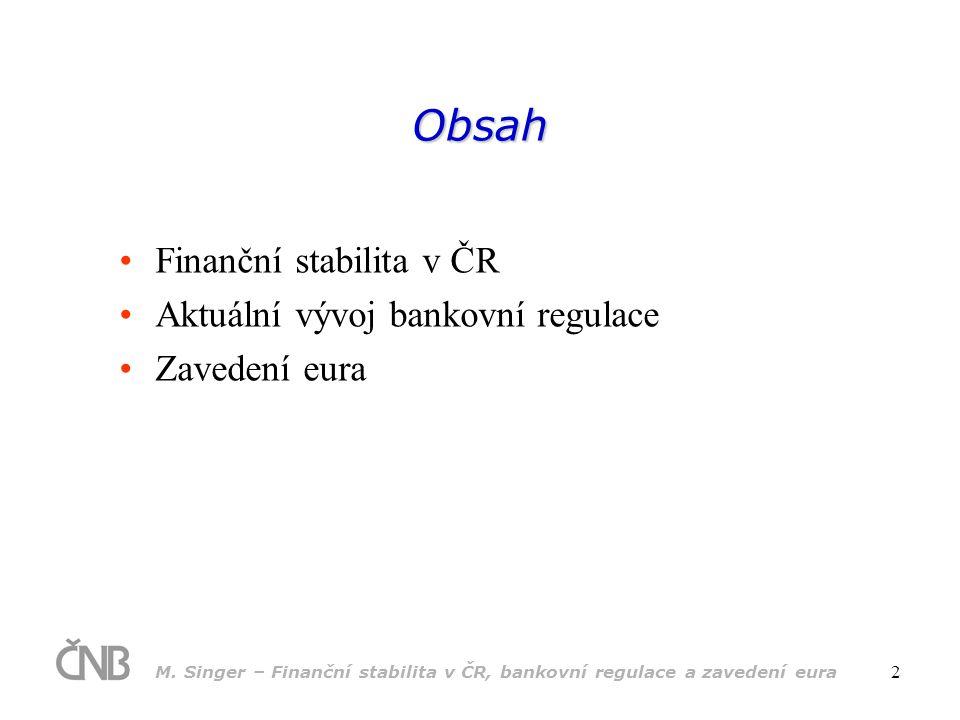 M. Singer – Finanční stabilita v ČR, bankovní regulace a zavedení eura 2 Obsah •Finanční stabilita v ČR •Aktuální vývoj bankovní regulace •Zavedení eu