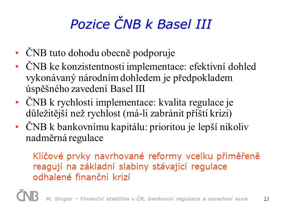 M. Singer – Finanční stabilita v ČR, bankovní regulace a zavedení eura 23 Pozice ČNB k Basel III •ČNB tuto dohodu obecně podporuje •ČNB ke konzistentn