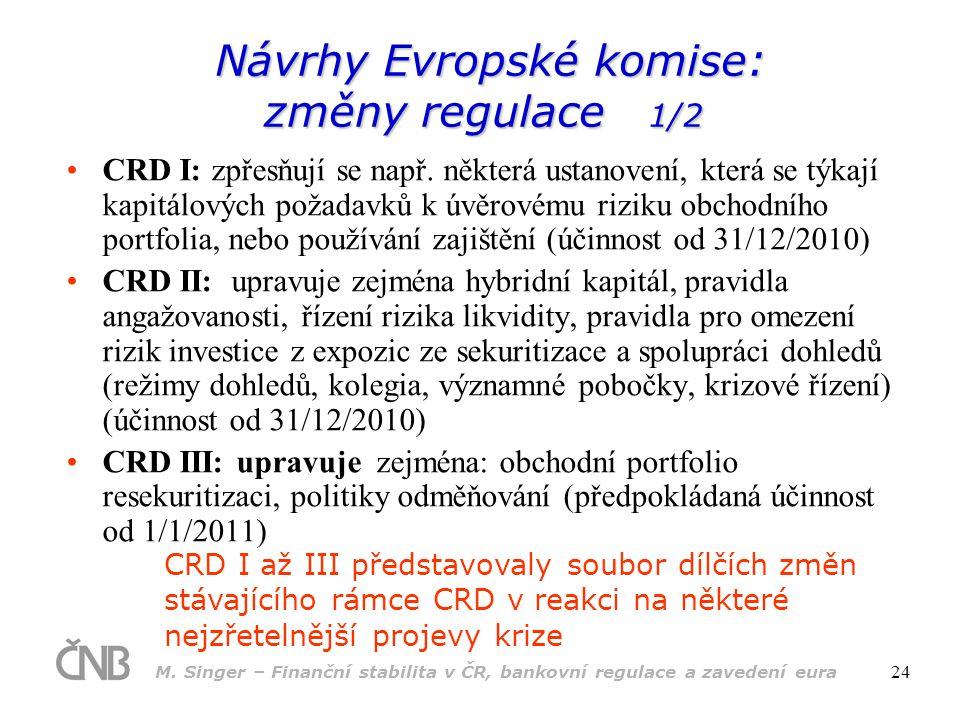 M. Singer – Finanční stabilita v ČR, bankovní regulace a zavedení eura 24 Návrhy Evropské komise: změny regulace 1/2 Návrhy Evropské komise: změny reg