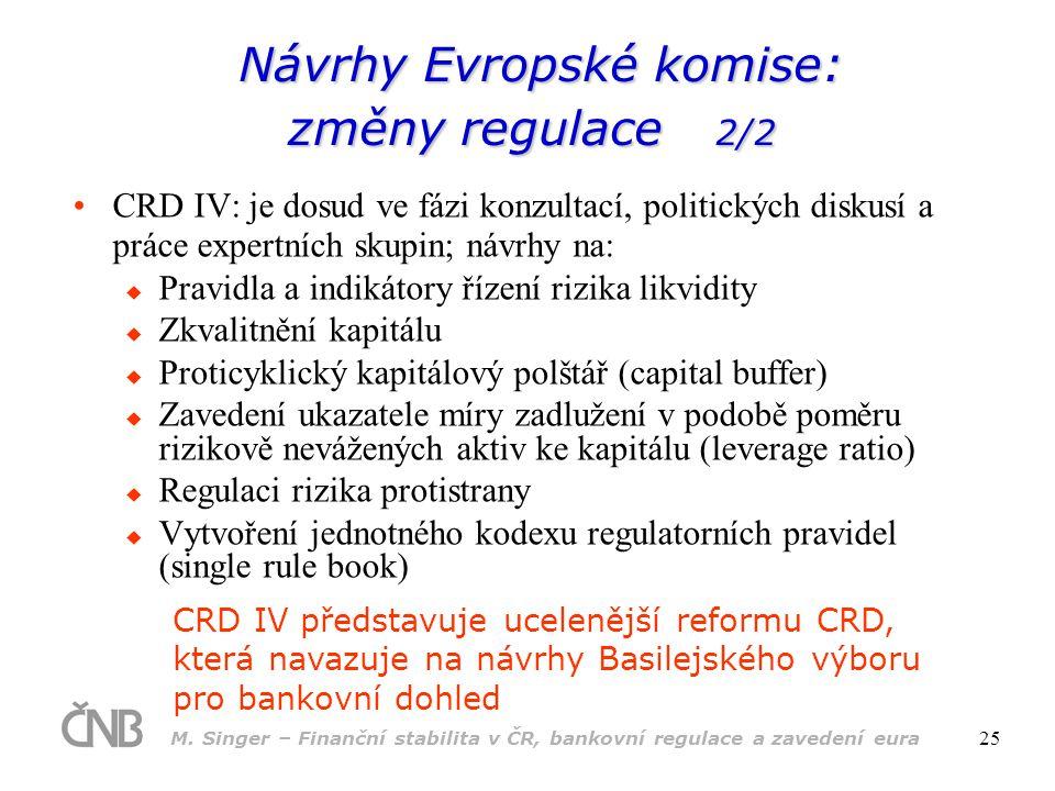 M. Singer – Finanční stabilita v ČR, bankovní regulace a zavedení eura 25 •CRD IV: je dosud ve fázi konzultací, politických diskusí a práce expertních