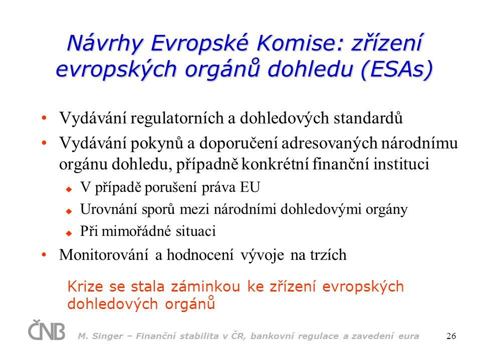 M. Singer – Finanční stabilita v ČR, bankovní regulace a zavedení eura 26 Návrhy Evropské Komise: zřízení evropských orgánů dohledu (ESAs) •Vydávání r