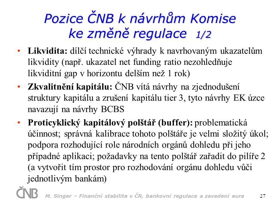 M. Singer – Finanční stabilita v ČR, bankovní regulace a zavedení eura 27 •Likvidita: dílčí technické výhrady k navrhovaným ukazatelům likvidity (např