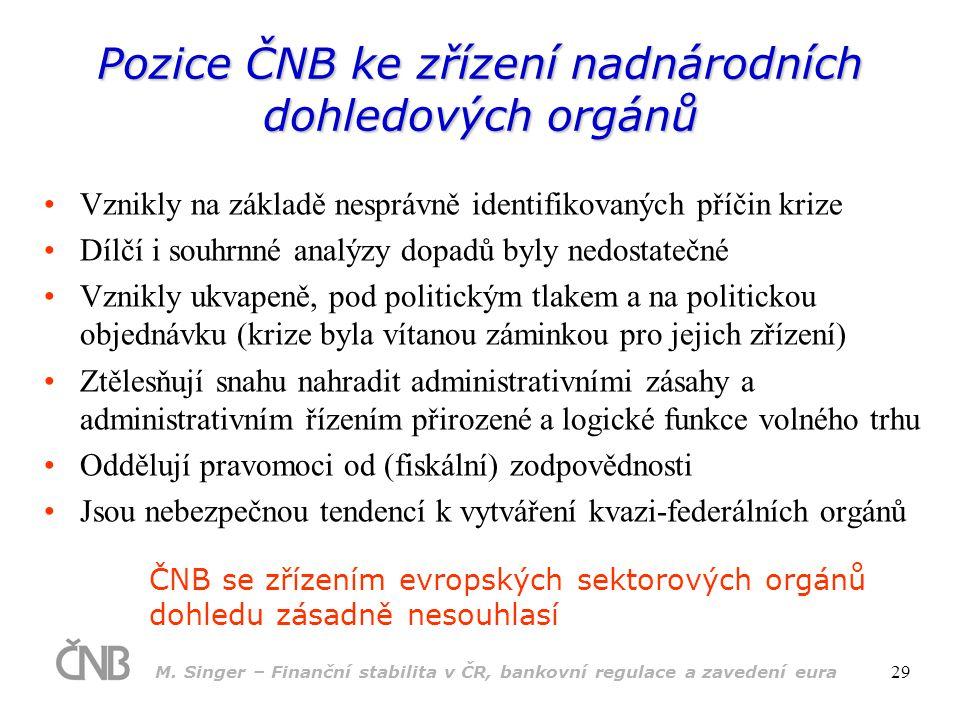 M. Singer – Finanční stabilita v ČR, bankovní regulace a zavedení eura 29 Pozice ČNB ke zřízení nadnárodních dohledových orgánů •Vznikly na základě ne