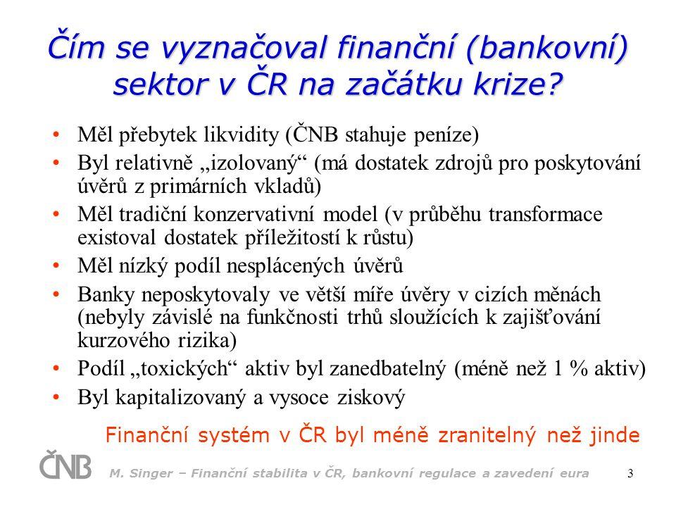M. Singer – Finanční stabilita v ČR, bankovní regulace a zavedení eura 3 Čím se vyznačoval finanční (bankovní) sektor v ČR na začátku krize? •Měl přeb