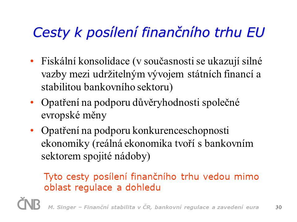 M. Singer – Finanční stabilita v ČR, bankovní regulace a zavedení eura 30 Cesty k posílení finančního trhu EU •Fiskální konsolidace (v současnosti se