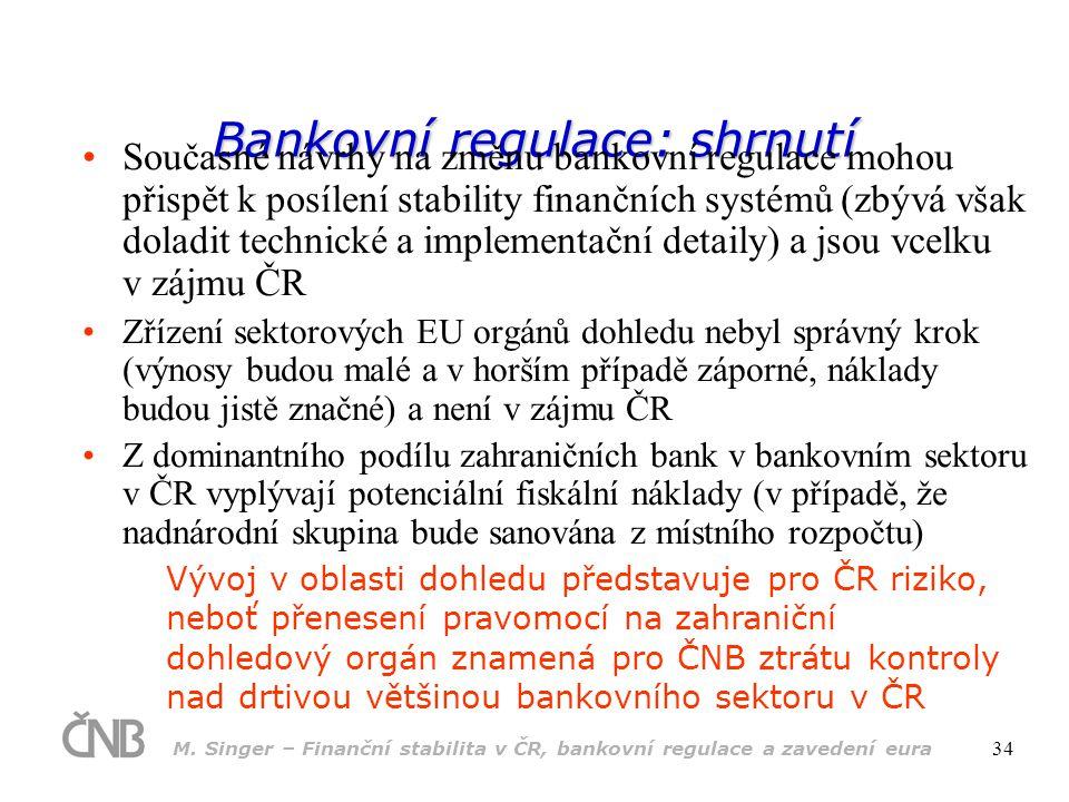 M. Singer – Finanční stabilita v ČR, bankovní regulace a zavedení eura 34 Bankovní regulace: shrnutí •Současné návrhy na změnu bankovní regulace mohou