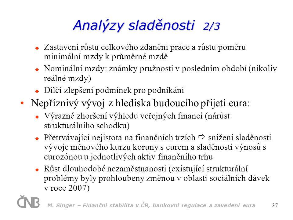 M. Singer – Finanční stabilita v ČR, bankovní regulace a zavedení eura 37 Analýzy sladěnosti 2/3  Zastavení růstu celkového zdanění práce a růstu pom