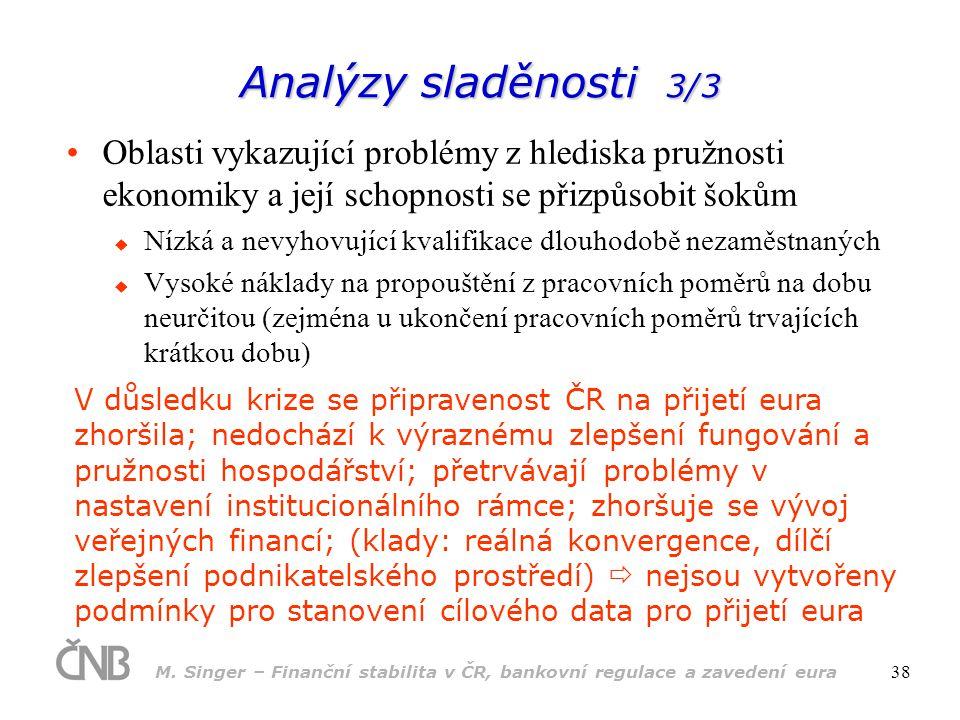 M. Singer – Finanční stabilita v ČR, bankovní regulace a zavedení eura 38 Analýzy sladěnosti 3/3 •Oblasti vykazující problémy z hlediska pružnosti eko