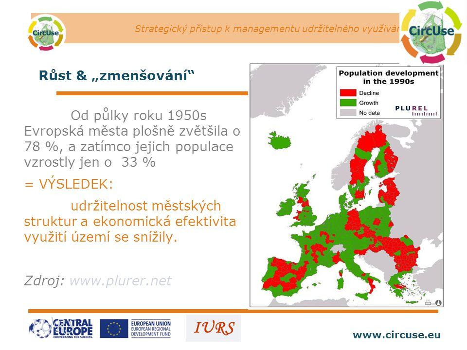 """Strategický přístup k managementu udržitelného využívání území www.circuse.eu © Susanne Stromberg IURS Růst & """"zmenšování Od půlky roku 1950s Evropská města plošně zvětšila o 78 %, a zatímco jejich populace vzrostly jen o 33 % = VÝSLEDEK: udržitelnost městských struktur a ekonomická efektivita využití území se snížily."""