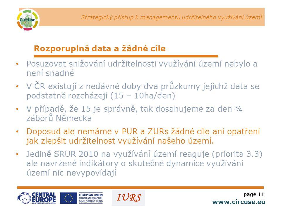 Strategický přístup k managementu udržitelného využívání území www.circuse.eu © Susanne Stromberg IURS Rozporuplná data a žádné cíle • Posuzovat snižování udržitelnosti využívání území nebylo a není snadné • V ČR existují z nedávné doby dva průzkumy jejichž data se podstatně rozcházejí (15 – 10ha/den) • V případě, že 15 je správně, tak dosahujeme za den ¾ záborů Německa • Doposud ale nemáme v PUR a ZURs žádné cíle ani opatření jak zlepšit udržitelnost využívání našeho území.