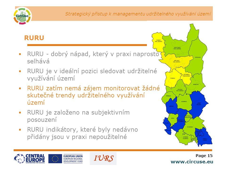 Strategický přístup k managementu udržitelného využívání území www.circuse.eu © Susanne Stromberg IURS RURU  RURU - dobrý nápad, který v praxi naprosto selhává  RURU je v ideální pozici sledovat udržitelné využívání území  RURU zatím nemá zájem monitorovat žádné skutečné trendy udržitelného využívání území  RURU je založeno na subjektivním posouzení  RURU indikátory, které byly nedávno přidány jsou v praxi nepoužitelné Page 15