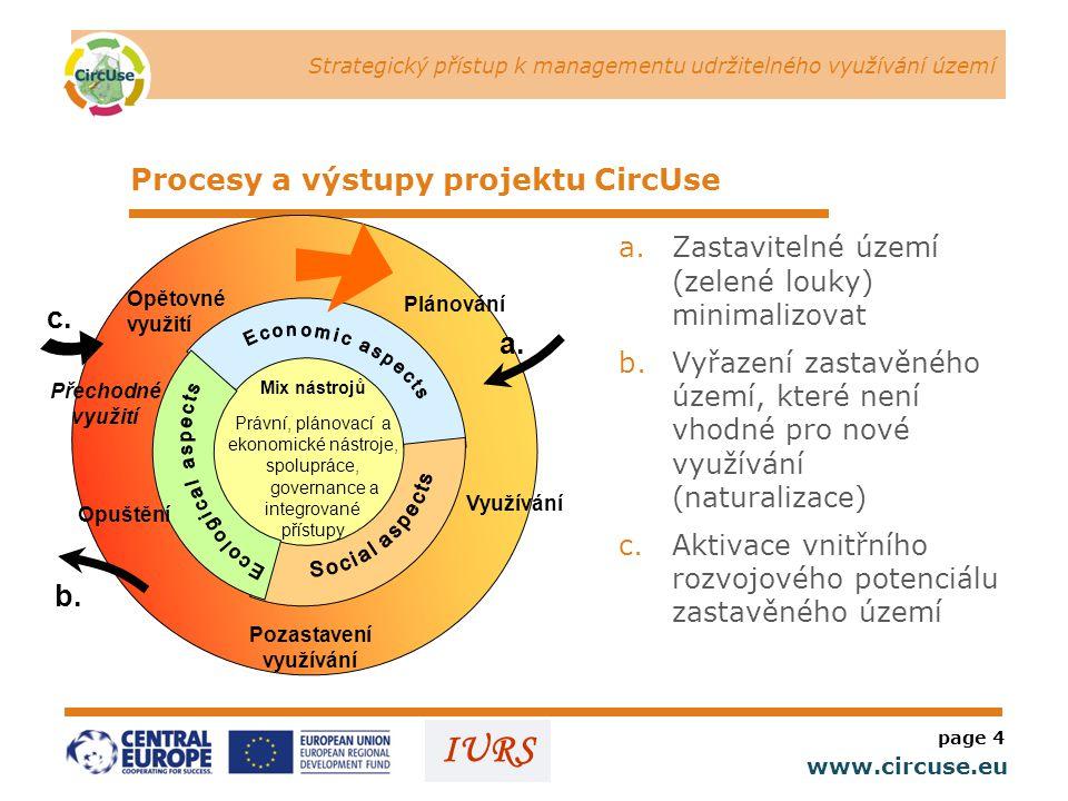Strategický přístup k managementu udržitelného využívání území www.circuse.eu © Susanne Stromberg IURS Procesy a výstupy projektu CircUse a.Zastavitelné území (zelené louky) minimalizovat b.Vyřazení zastavěného území, které není vhodné pro nové využívání (naturalizace) c.Aktivace vnitřního rozvojového potenciálu zastavěného území page 4 Mix nástrojů Právní, plánovací a ekonomické nástroje, spolupráce, governance a integrované přístupy Plánování Využívání Opuštění Pozastavení využívání Opětovné využití Přechodné využití c.